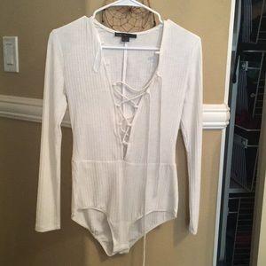 White bodysuit long sleeve